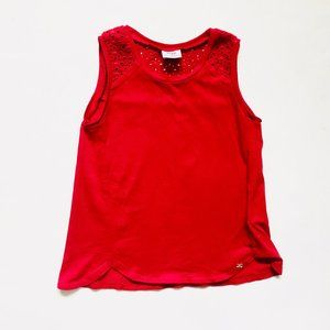 Mayoral Red Lace Detail Swing Tank Top